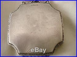 Antique Sterling Silver Guilloche Enamel Powder Compact Box Painted Art Deco