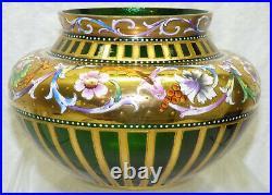 Antique Venetian Bohemian Art Glass Vase Enamel Painted Floral Gold Mica Flecks