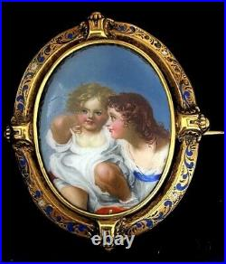 Antique Victorian 18k gold brooch hand painted enamel painting of 2 girls rare