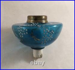Antique Victorian Blue Enamel Painted Art Glass Peg Lamp Oil Lamp Font
