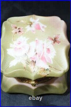 Antique Victorian Enamel Painted Wavecrest Art Glass Dresser Jar C. F. M. Monroe