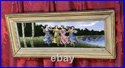 Antique Victorian Enamel Painting On Metal Of Classical Dancing Ladies