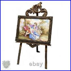 Antique Viennese enamel miniature portrait painting bronze frame two lovers