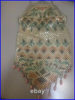 Antique Vintage Art Deco Mandalian MFG CO Hand Painted Enamel Mesh Purse@