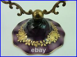 Antique Webb Amethyst Hand Painted Enamel Floral Art Glass Compote Tazza Epergne