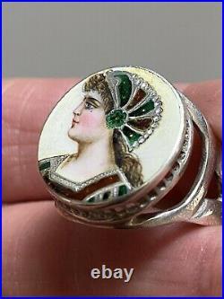 Antique art nouveau Sterling Silver Ring Enamel Painted Anello Argento 925