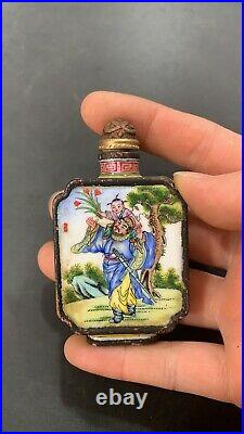 Antique chinese cloisonne snuff bottle enamel bottles painted painting gifts art