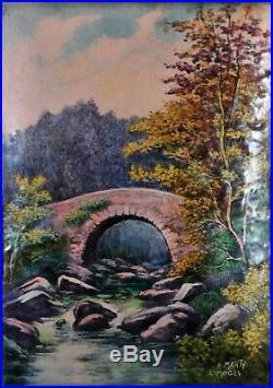 Antique enamel plaque, A. Marty, Limoges Pont des Roches