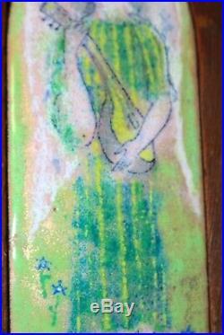 Antique original hand enameled dome copper Limoges angel musician painting art
