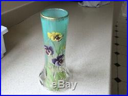 Antique raised enamel pansies painted vase 9 3/4 inches tall Moser Art Nouveau