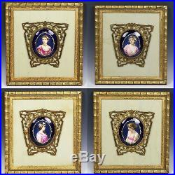 Antique set 4 miniatures paintings on porcelain Maiden Seasons of the Year