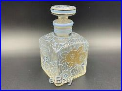 Art Deco Bohemian Scent Perfume Bottle With Stopper Hand Painted Gold/Blue Enamel