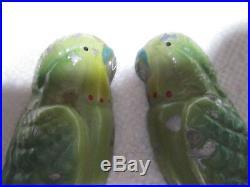 Art Deco Cast Metal Parakeets/budgerigars Old Crackled Enamel Paint Gorgeous
