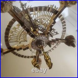 Art Deco Ceiling Light Fixture chandelier polychrome enamel painted metal 1930s