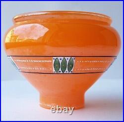 Art Deco Glass Vase, Enamel Painting, Bohemia, Um 1920 K636