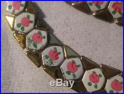 Art Deco Hand Painted Enamel Roses Souvenir Necklace & Bracelet Unbranded