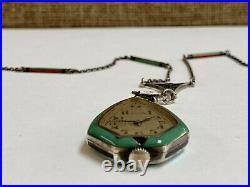 Art Deco Leicht-Mayer Lucerne Silver Painted Enamel Marcasite Watch Necklace