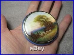 Art Deco ML &Co. 925 SS Blue Guilloche Enamel Miniature Painting Powder Compact