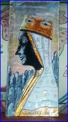 Art Deco Nouveau Enamel on Copper Plaque Rare Black Madonna Virgin Ca 1900