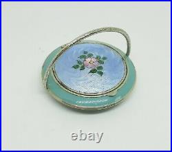 Art Deco Silver Plated Whoopee Compact Blue Guilloche Painted McRae & Keller