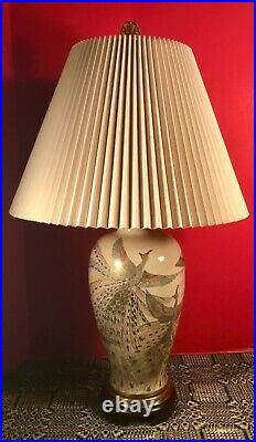 Art Deco Table Lamp Vase Form Hand Painted & Gilt Peacocks with Accordion Shade