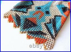 Art Deco Whiting and Davis Painted Enamel Flat Mesh Geometric Bag