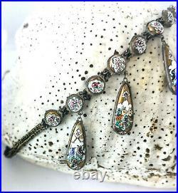Art Nouveau 1920 Iranian Hand Painted Golden Enamel Necklace or Choker