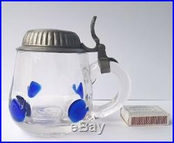 Art Nouveau Glass/Beer Mug Tin Outfit Theresienthal Enamel Painting um 1910