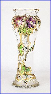 Art Nouveau Glass Vase Enamel Painted Flowers