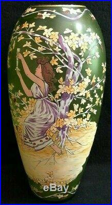 Art Nouveau Hand Painted Enameled Vase 11 Fritz Heckert / Bohemian/ Jungendstil