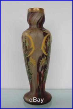 Art Nouveau Jugendstil glass enamel painted Legras vase