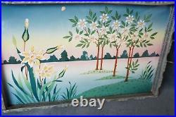 Art Nouveau Max Dannhorn Porcelain painted Floral enamel Tray Bohemian Platter