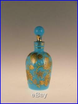 Art Nouveau Opaque Blue Glass Perfume Bottle Gilded Gilt Painted Enamel Bohemian