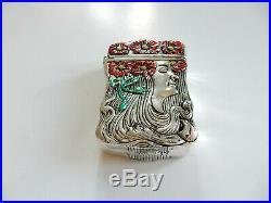 Art Nouveau Silver Vesta Match Safe Hand Painted Enamel