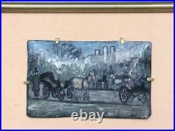 Artist Signed Enamel on Copper Framed Painting New York Cabbies Orr's Gallery