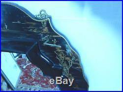 Asian Black Enameled Wood Mirror Hand Painted Work of Art, 42 1/4H
