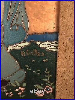 Asian inspired enameled copper repousse by French coppersmith Albert Gilles