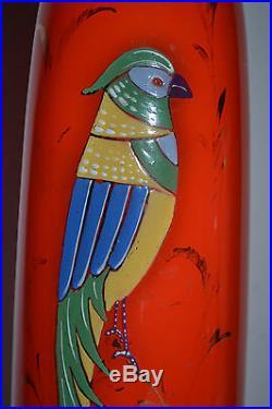 BEAUTIFUL ART NOUVEAU TANGO GLASS VASE WITH ENAMEL PAINTING PARROT c1915