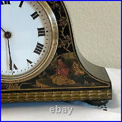 BUREN Art Deco Chinoiserie Mantle Clock Lacquer Hand Painted Swiss Made England