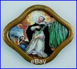 Barocke Malerei Emailplakette 18Jh Emaux Baroque Enamel Hl. Dominikus St Dominic