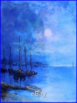 Beautiful 1900 s R. Sarlandie Enamel Copper Boats Sea Ocean Marine Painting