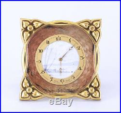 Beautiful Early Art Deco Swiss 8 Day Hand Painted Dial, Enamel, Brass Desk Clock