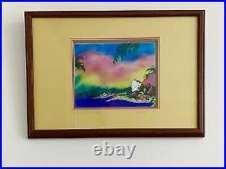 Beautiful Painting Enamel on Copper Signed Seaside Tropical Village Landscape