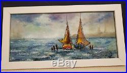 Beautiful Vintage Original Enamel on Copper Nautical Painting by Livius
