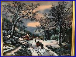 Betourne Limoges JP Loup Limited Edition Enamel On Copper Winter Scene 198/300