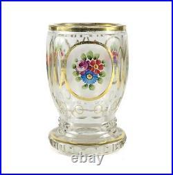 Bohemian art glass vase 19th century Clear, hand painted gilt enamel flowers