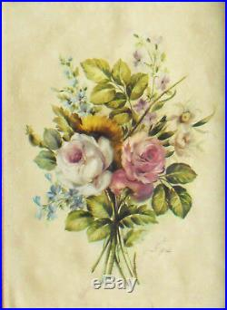 Bouquet of Flowers, Miniature on enameled copper plate