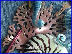 Bovano Enamel Paint Metal Art Two Seahorse, Coral, And Nautilus Shell