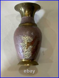 Brass Vase Hand Painted Vintage Etched Copper Enamel Paint Decoration Art Decor