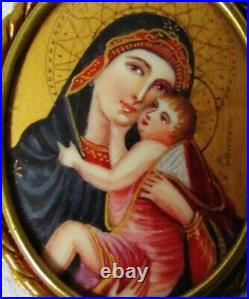 Brooch Antique Portrait Miniature Virgin A THE CHILD Antique Brooch Mary Christ